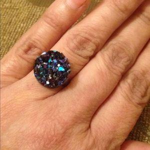Jewelry - Black purple blue Druzzy adjustable ring